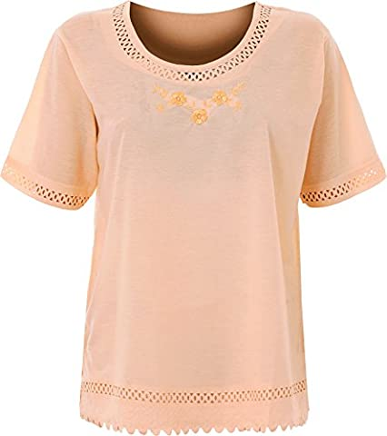 Ladies Summer Embroidered T-Shirts Women Tshirt Tops in Assorted Color & Sizes (M, Peach)