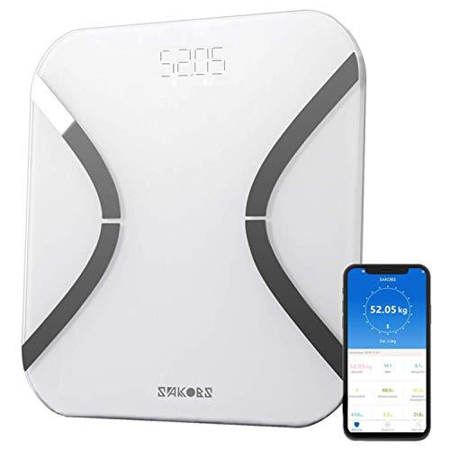SAKOBS Körperfettwaage Bluetooth mit LCD-Display Waage mit Körperfett Ultradünne Digitale Personenwaage mit App für BMI Gewicht Muskelmasse Wasser Diät usw, iOS & Android Fitness Waage -