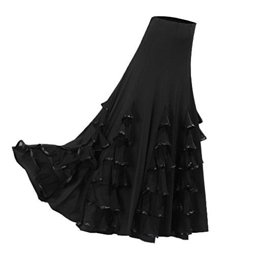 Sharplace Große Schaukel Damen Maxirock Tanzrock Tanzkleider Ballsaal Tanzen Lange Rock Flamenco Kleid Boho Hippie Walzer Tango Latein Kostüm - Stil 1 Schwarz, wie ()