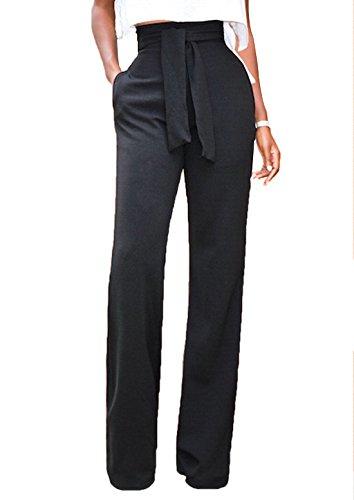 WOZNLOYE Donne Moda Vita Alta Gamba Larga Pantaloni con Bendare Casual Tinta Unita Lunghi Pants (S, Nero)