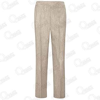 Womens Ladies Trousers Classic Linen Look Pants Girls Elasticated Office Bottoms[Beige,22-Regular]