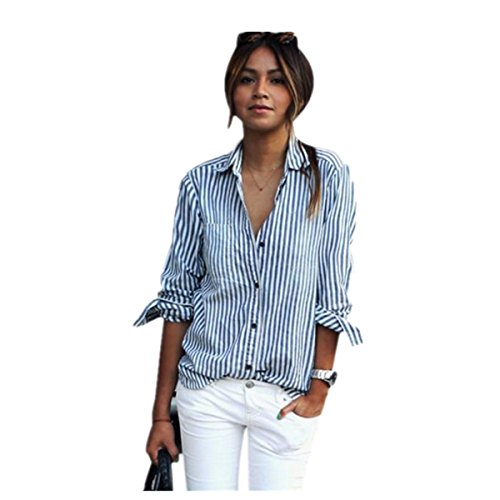 SUCES Frauen Striped Long Sleeve Lose Bluse Casual T-Shirt Tops Damen Langarmshirt Rundhals Buntes Gestreiftes Lose Bluse Shirt Oversize Sweatshirt Oberteil Tops Sweater Sweatshirt (3XL, Blue) (Long Striped Henley Sleeve Shirt)