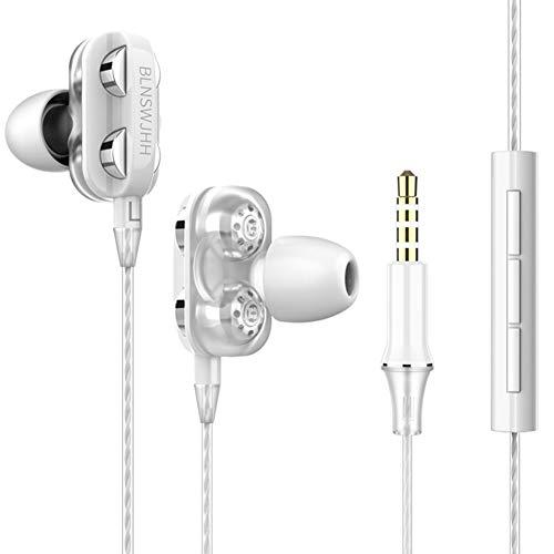 Neu Dual Dynamic Kopfhörer Dual-Lautsprecher mit Weizen koaxial 4 Subwoofer-Einheit HIFI Eisenring Ear Sportkopfhörer Sport Duale Treiber Einheiten Heavy Bass HiFi In-Ear-Kabelohrhörer White -