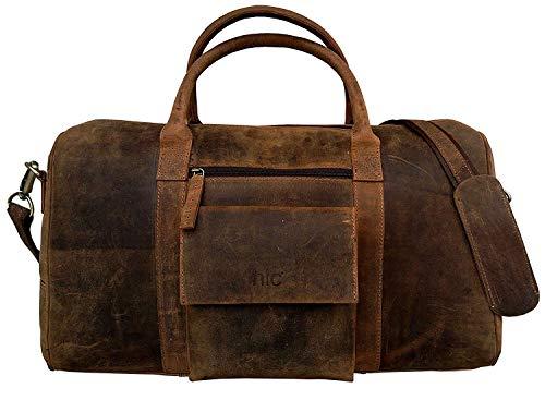 Weekender DHK Bags Bergen L Reisetasche aus Leder Qualität Vintage Design Damen Herren Braun Groß 51 cm 40 Liter -