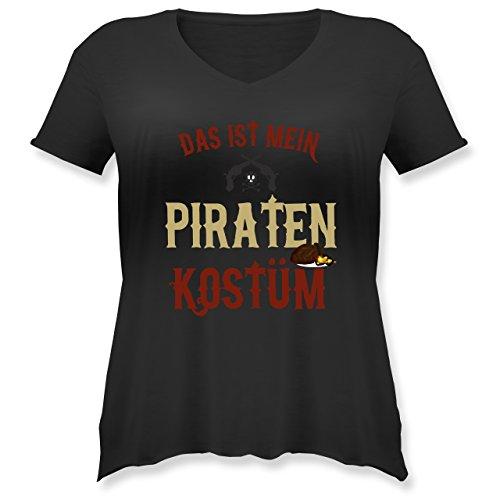 Karneval & Fasching - Das ist Mein Piraten Kostüm - L (48) - Schwarz - JHK603 - Weit geschnittenes Damen Shirt in großen Größen mit ()