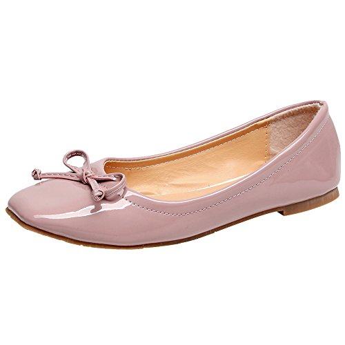 Jamron Damen Schön Krawatte Ballerinas Bequem Quadratische Zehe Schlüpfen Halbschuhe Niederung Slippers Pumps Dolly Schuhe Rosa SN02911 EU41.5