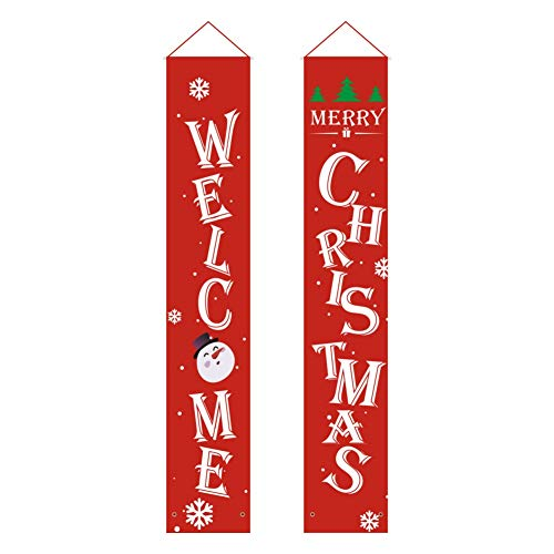 Leezo Willkommen Frohe Weihnachten Banner Weihnachten Hängeschild Für Indoor Outdoor Tür Display Dekorationen, Halloween Outdoor Dekoration, verwenden, um für Tor, Garten, Home Party hängen