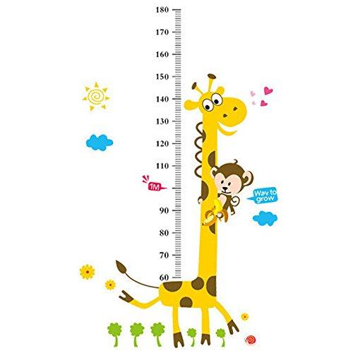 wonzom Kinder Messlatte Wandtattoo Home Decor Cartoon Giraffe Höhe Lineal Home Dekoration Raum Aufkleber Wandaufkleber Aufkleber Tapete