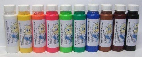 10er Set ACRYLFARBE seidenmatt - Malfarbe Künstlerfarbe: 10 x 300 g, 10-fach sortiert, 10 verschiedene Farbtöne - brilliante Farben - hervorragend mischbar - schnelle Trocknung - hochergiebig - Qualität aus deutscher Produktion