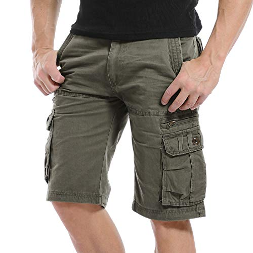 Yidarton Cargo Shorts Herren Kurze Hosen Outdoor Casual Cargo Bermudas Sommer Unifarben/Camouflage (ohne Gürtel) (Style1-Deep Army Green, M) - Hose Khaki Herren
