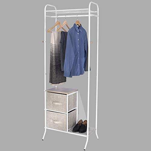 WOLTU SR0070 Garderobenständer Kleiderständer Wäscheständer mit Ablage mit Schubladen Schuhregal aus Stoffbezug Holz Stahl, Hängeregal, Weiß