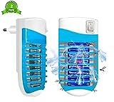 FishOaky Lampe Anti Moustique Electrique UV Tue Mouche 4W Bug Zapper Tueur De Moustique avec Night Light- Ultraviolet & Electric Shock Deworming Physiquement Prises EU(2 Pack)