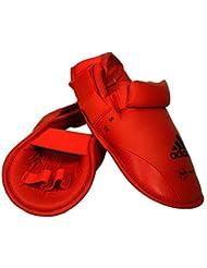 adidas WKF de artes marciales Protector de pies, hombre Mujer unisex Niño, rojo