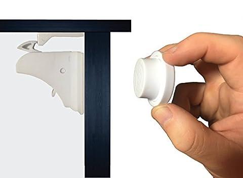 elitebaby Enfant L'armoire magnétique verrous–Lot de 8verrous et 2clés–Enfant verrous de sécurité pour armoires et tiroirs–Pas d'outils ni de perçage requis.