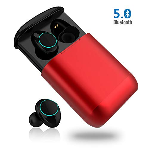 Bluetooth Kopfhörer, MONJA Bluetooth 5.0 Wireless Ohrhörer, Aktive Geräuschunterdrückung, IP7X Wasserdichte Sport Headset Kabellos, Atmungslicht, 500mAh Ladebox (Rot) -