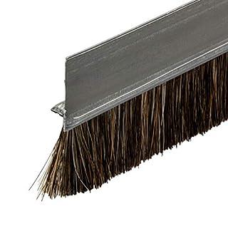 Gedotec Bürstendichtung Tür-Bürste Streifenbürste Schiene Türbodendichtung mit dichten Besatz   Türdicht-schiene Länge 2000 mm   Türdichtung Stahl-Blech - Rosshaar Natur   1 Stück - Türdichter Bürste
