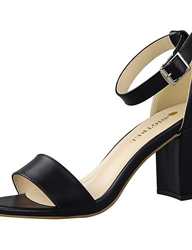 WSS 2016 Chaussures Femme-Habillé-Noir / Rouge / Blanc / Gris / Kaki / Amande-Gros Talon-Talons / Bout Arrondi / Bout Ouvert-Talons-Similicuir gray-us8 / eu39 / uk6 / cn39