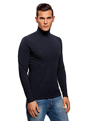 oodji Ultra Herren Rollkragenpullover Basic (2er-Pack), Blau, DE 50 / M (50 Polo Jersey Shirt)