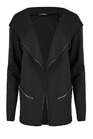 Femmes Capuche Poches Zippées Manches Longues Cardigan Devant Ouvert Femmes Baggy Veste élastique Hiver Chaud Pull Grande Taille UK 8-22 - Noir, Plus Size (UK