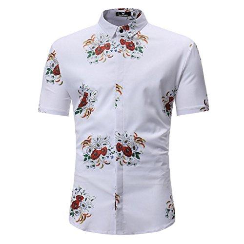 Chemises Minces Homme Retro Floral Imprimé Blouse Décontracté Manche Courte Malloom