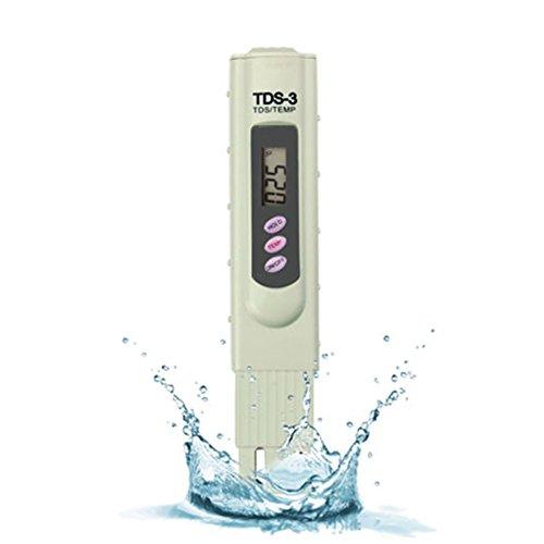 TDS-3 Wasserqualität Tester Digital TDS Meter Set,3-in-1 Neueste Version Premium Handheld TDS Qualität Wasser Testgerät Messgerät + Schützender Koffer 0 - 9990 ppm TDS Messung Beige für Schwimmbäder -