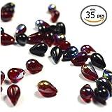 Générique 35Perlas en Forma de Gota en Cristal, Perlas lágrimas de Cristal de Boheme–Gota, Rojo y Negro