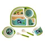 Set Piatti Per Bambini Cucchiaino Svezzamento Pappa Bimbi Per Colazione Pranzo E Cena | Materiale Naturale Senza Plastica O Additivi Chimici | Piatto A Scomparti Tazza Posate | 12 Varianti