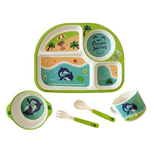 Set Piatti Per Bambini Servizio Completo Pappa Bimbi Per Colazione Pranzo E Cena Materiale Naturale Senza Plastica O Additivi Chimici Piatto A