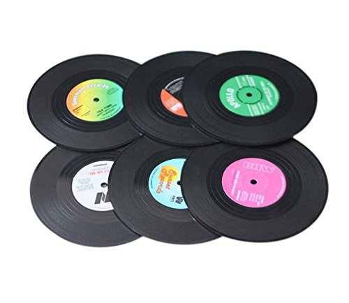 YOIL ✯☭Worth Buying 6 Teile/Satz Retro CD Rekord Vinyl Kaffee Trinken Tasse Untersetzer Chic Silikon Geschirr (Satz Tassen Von Kaffee)