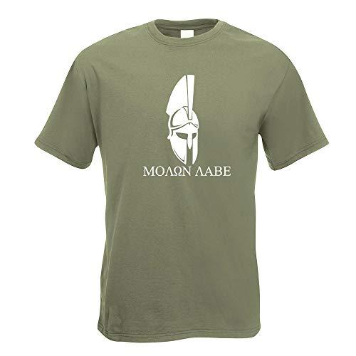 Kiwistar Sparta 300 Helm Molon Labe T-Shirt Motiv Bedruckt Funshirt Design Print