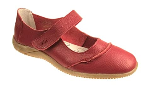 DR LIGHTFOOT WOMENS FULL LEATHER CASUAL COMFORT MARY JANE LOAFERS FLAT SHOES SANDALS GIRLS LADIES SIZE UK 3 - 8 (3, Red)