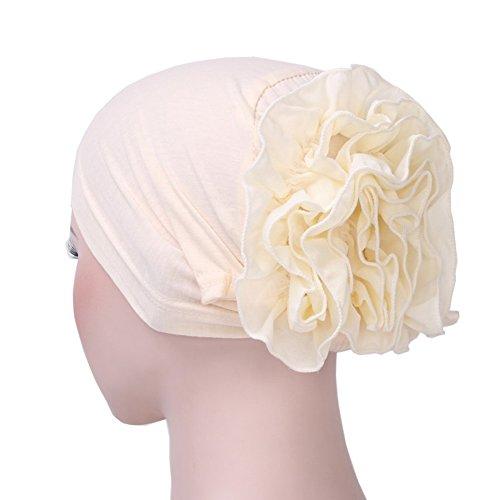 iShine Frau Turban mit Große Blume Einfarbig Kopftuch Chiffon Kopfbedeckung Haarband...
