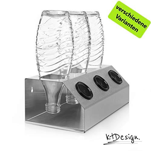 Premium SodaStream Abtropfhalter aus Edelstahl für 3 Flaschen - Flaschenhalter mit Abtropfboden und praktischer Deckelhalterung für SodaStream Crystal, Emil- und Glasflaschen, Made in Germany