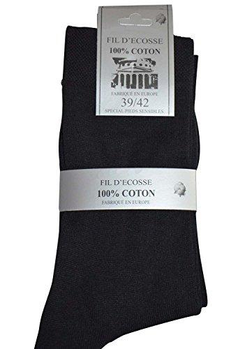 Lot de 6 paires de chaussettes FINES COUTURES pieds sensibles en Fil d'Ecosse 100% Coton - Taille - 39-42 - noires