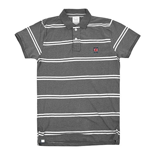 Putney Bridge Union Jack Badge Polo Gris (Grey Marl SPO) L para Hombre