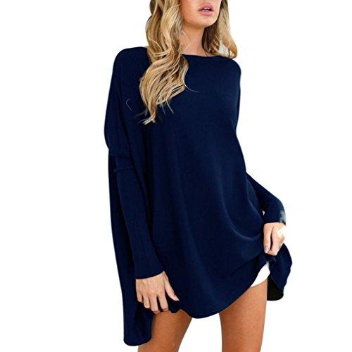 Damen Pullover Kleid CLOOM Frau Baggy Mantel Rundhals Sweater Sweatkleid Strickkleider Langarm Jerseykleid Stricksweat Sweater Casual Oversized Winterkleider Fledermaus Sweatkleid (Blau, XL) (Tee Plissee-neck)