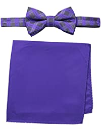 Nick Graham Men's Box Plaid Bow Tie with Pocket Square