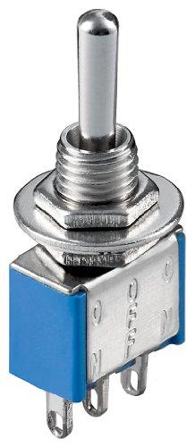 Goobay 10022 Kippschalter Miniatur, EIN - AUS - EIN, 3 Pins, blaues Gehäuse -