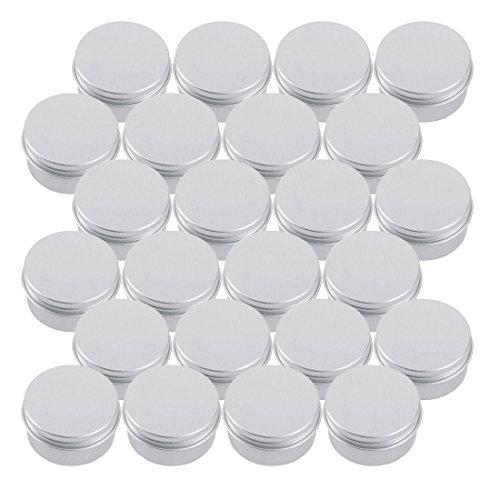 SODIAL 30ml argent petits recipients de pot de stockage de baume de levre en aluminium rond avec le couvercle a visser pour le baume de levre, cosmetique, bougies ou the (paquet de 24)