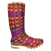 SUPGOD P348 Pink With Yellow Stars Funky Womens Ladies Girls Wellies Wellie Boots Rain Snow Sizes 3, 4, 5, 6, 6.5 & 7 Bestival, Reading & V Festival *UK SELLER*