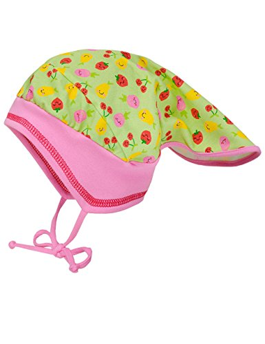 maximo Baby-Mädchen Kopftuchmütze Früchte mit Bindeband Mütze, Mehrfarbig (Apfelgrün/Rot 31), 49