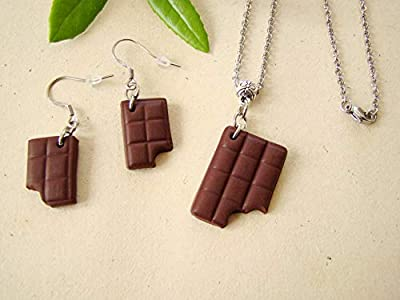 coffret cadeau collier boucles d'oreilles chocolat argile polymère fimo bijoux gourmands