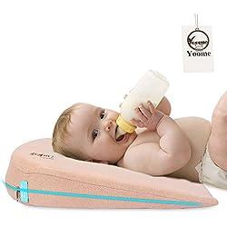 Yoome Baby-Keil mit Memory Foam pillow|firm Memory Foam empfohlen speziell für infants|15Grad Neigung für Baby Reflux Relief | Hypoallergen & Antimikrobielle Schutzhülle khaki