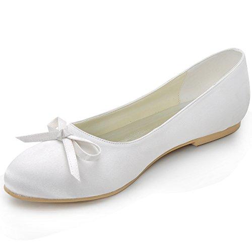 ElegantPark EP2135 Donna Partito Vestito Balletto Punta Chiusa Arco Satin Scarpe Da Sposa Avorio