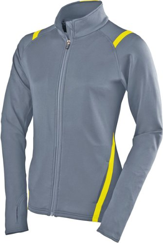 Augusta Damen Brushed Back Freiheit Jacke, Mädchen Damen, Graphite/Power Yellow, Large