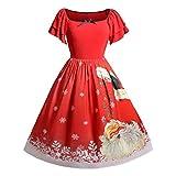 Frauen Mitte der Wade Weihnachten Kleid Damen Plus Size Bow Weihnachtsmann Print Vintage O-Neck Fit Flare Empire Dress Moonuy