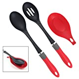 Latest 3-pc Kitchen Serving Spoon Set With Spoon Rest - Lifetime Replacement Warranty - Multifunction Nylon Solid and Slotted Spoons - Red Plastic Kitchen Utensil Accessories That Never Scratch