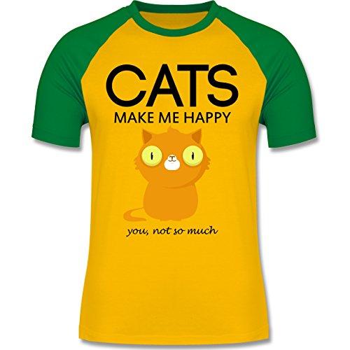 Katzen - Cats make me happy - you not so much - zweifarbiges Baseballshirt für Männer Gelb/Grün