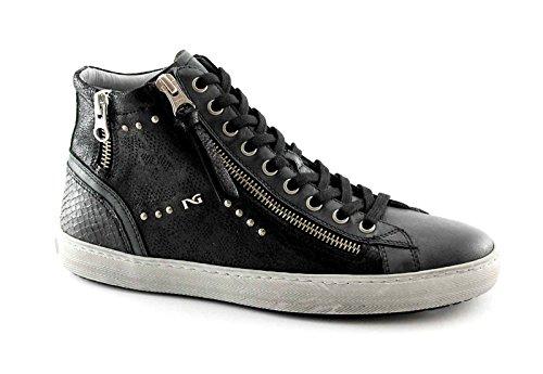NERO GIARDINI 16210 nero scarpe donna mid zip sportive sneaker luxury Nero
