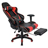 Bureaustoel met Hoofdsteun en Heupkussen, Gaming Stoel Draaibaar en in Hoogte Verstelbaar, Computer Bureaustoel Ergonomisch (Zwart rood)